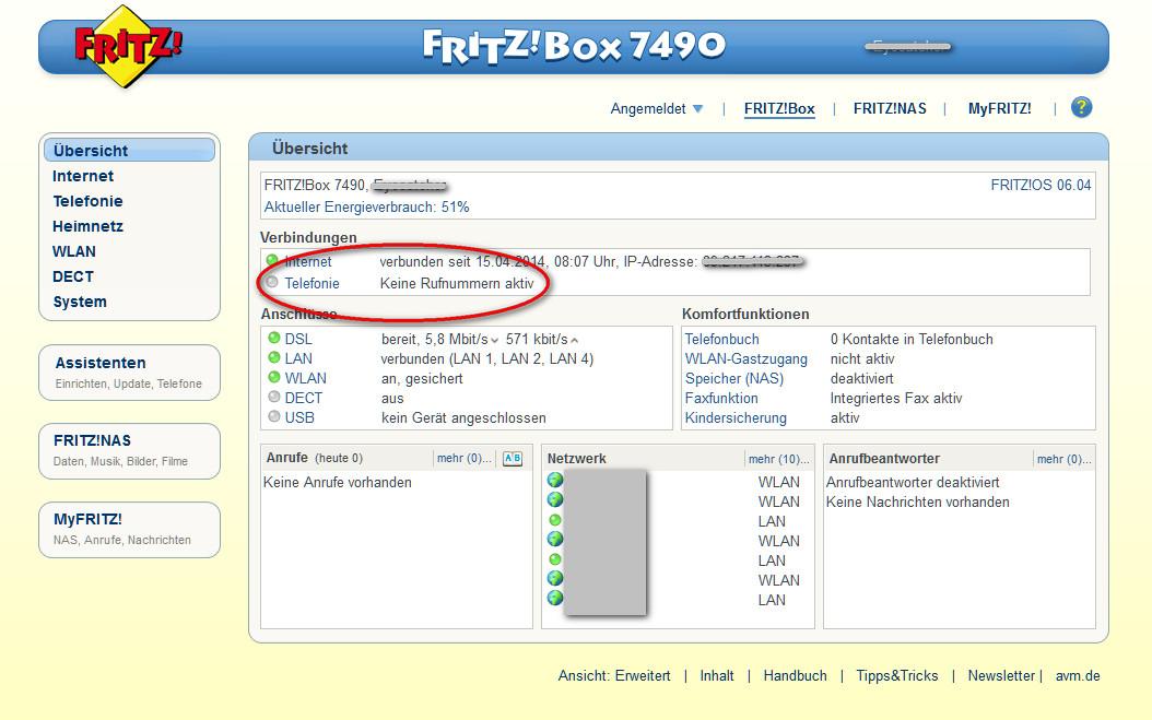 GELÖST - FritzBox 9, Fax einrichten