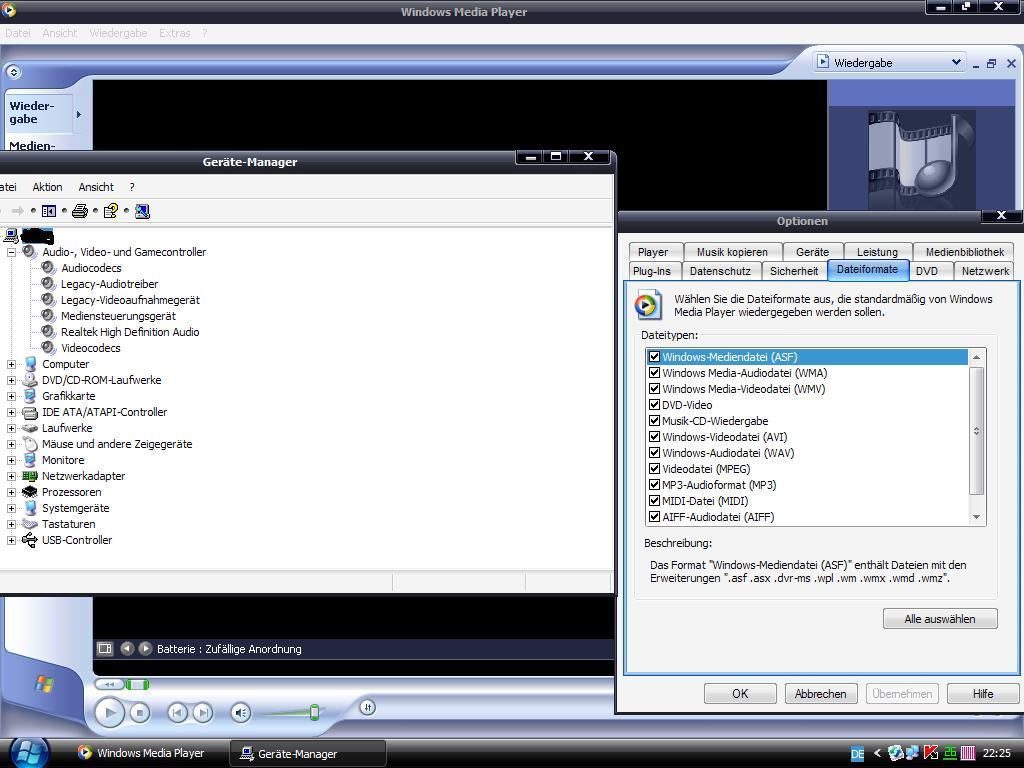 audiogerät für windows media player