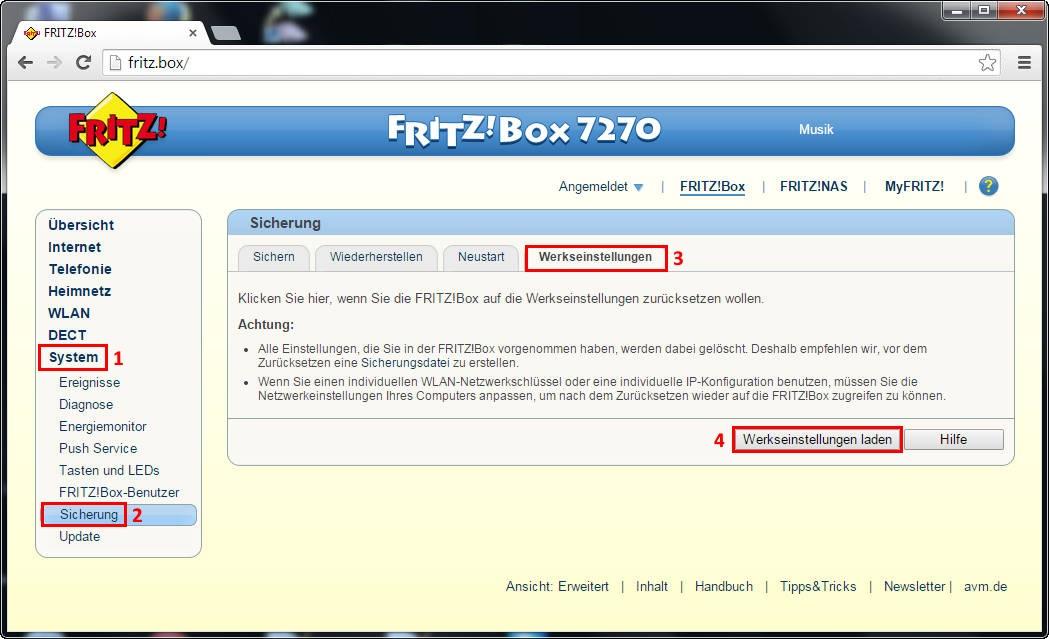 Fritzbox Auf Werkseinstellung Zurücksetzen