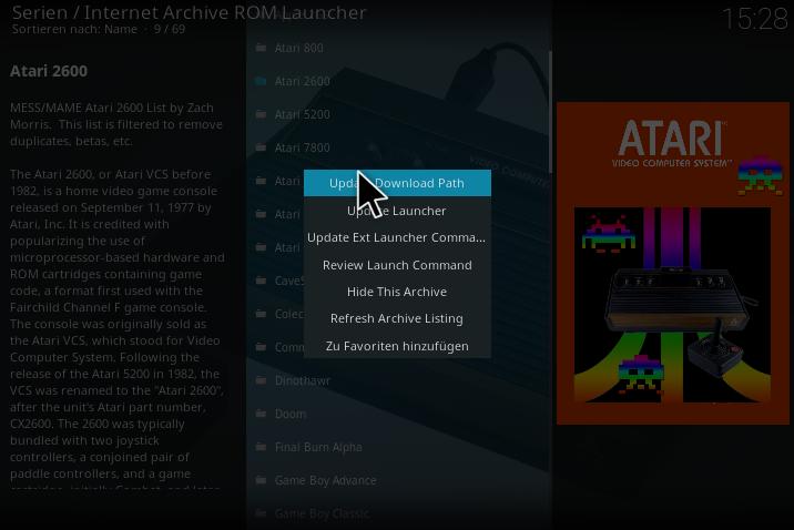 Internet Archive ROM Launcher von Zach Morris für Kodi am Windows PC