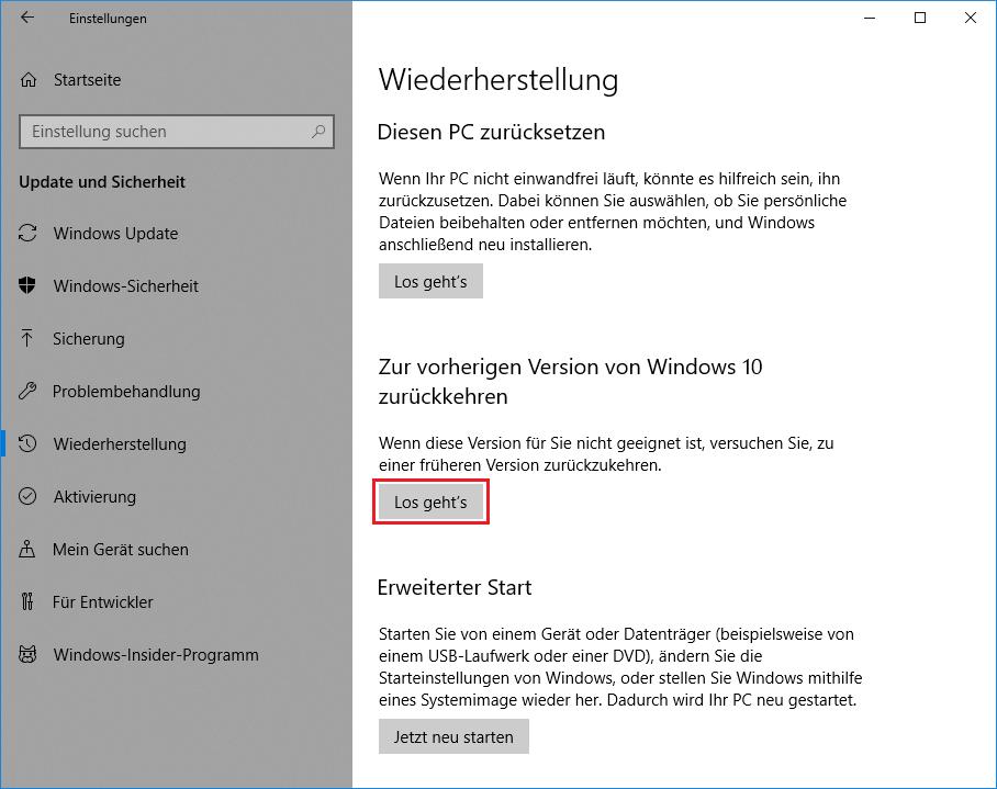 Windows 10 1803 vorherige version wiederherstellen