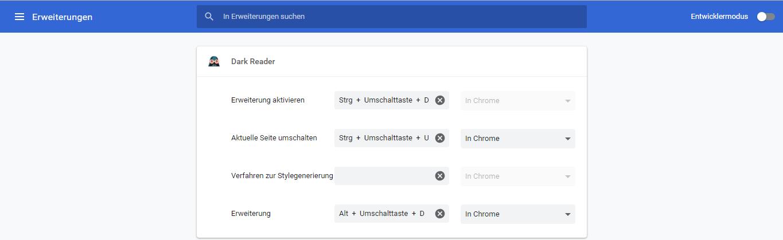 Dark Reader Erweiterung nutzen und Google Chrome Dark Mode