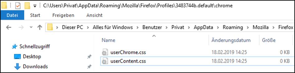MozillaFirefoxBrowseruserChrome.cssuserContent.cssFileFilesDateiDateienStylishVeränderungenAnpassungenTweaksanlegenerzeugenerstellennutzenverwendeneinrichtenbearbeiten-4.png