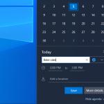Terminplaner für Erinnerungen im Kalender der Windows 10 20H1 Build 18912 Taskleiste verwenden