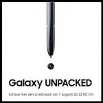 Samsung Galaxy Unpacked Event für das Samsung Galaxy Note 10 am 07.08.2019 um 22:00 Uhr