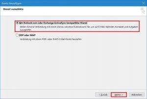 Outlook - Konto hinzufügen - manuelle Konfiguration - Servertyp wählen.jpg